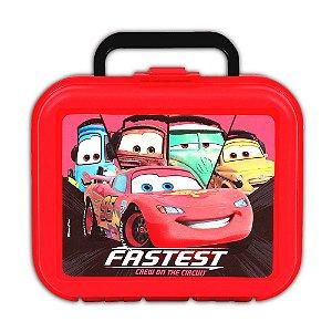 Lancheira Injetada Disney Carros Vermelha Com Pote E Squeeze 36975