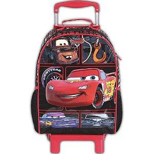 Mochila De Rodinhas Carros Preta E Vermelha Infantil Escolar