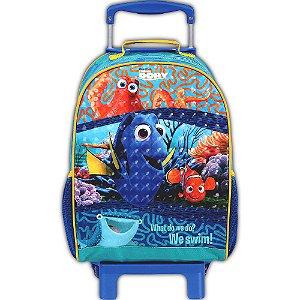 Mochila de Rodinhas Mochilete Escolar Disney Procurando Dory Azul