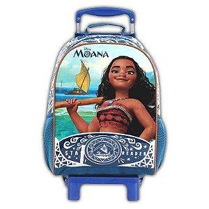 Mochila de Rodinhas Mochilete Escolar Disney Princesa Moana Azul