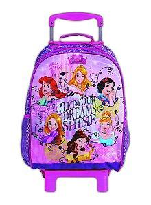 Mochila de Rodinhas Mochilete Escolar Disney Princesas Dream Rosa (37217)