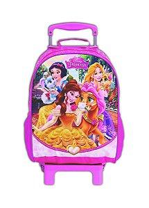 Mochila de Rodinhas Mochilete Escolar Disney Princesas Pets Rosa (37240)