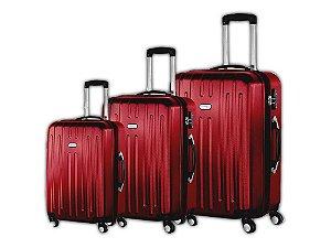 Conjunto Malas De Viagem 3 Peças Travel Max Abs Vermelho