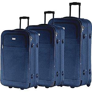 Conjunto Malas de Viagem P/M/G em Poliéster Azul (CJMBLM305A)