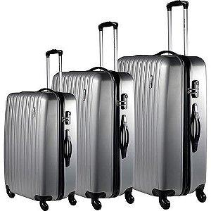 Conjunto Malas de Viagem P/M/G em ABS Prata 4 Rodas (CJMBNJ210PRA)