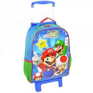 Mochila de Rodinhas Mochilete Escolar Nintendo Super Mario Bros Azul (49068)