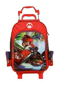 Mochila de Rodinhas Mochilete Escolar Nintendo Super Mario Bros Vermelha