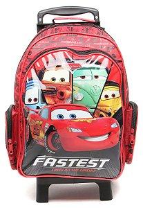 Mochila de Rodinhas Mochilete Escolar Grande Dermiwil Disney Carros Vermelha (36979)