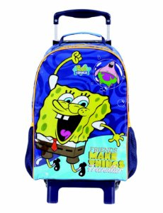 Mochila de Rodinhas Mochilete Escolar Grande Dermiwil Nickelodeon Bob Sponja Azul (48876)
