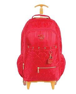 Mochila de Rodinhas Mochilete Escolar Grande Dermiwil Capricho Love VIII Vermelha (48890)