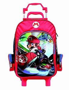 Mochila de Rodinhas Mochilete Escolar Grande Dermiwil Nintendo Super Mario Kart Metalico (49073)