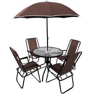 Conjunto Leblon 4 Cadeiras Textilene + Mesa Vidro + Ombrellone- Marrom (88900)