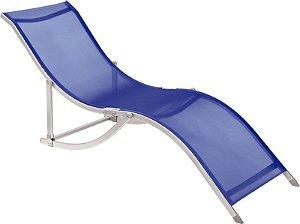 Cadeira Espreguiçadeira S Alumínio Textilene - Azul (35702)