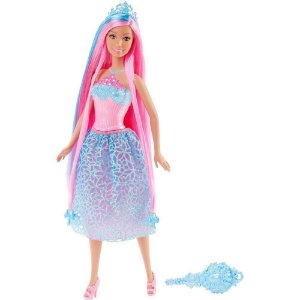 Boneca Barbie Princesas Cabelo Longo Rosa