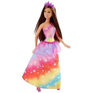 Boneca Barbie Princesas Mágicas Cabelo Castanho