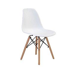 Cadeira Eiffel Branca Plástico Base Madeira