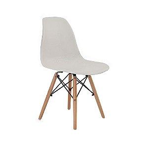 Cadeira Design Charles Eames Eiffel Cinza Plástico Base Madeira