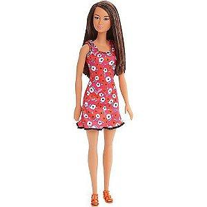 Boneca Barbie Fashion Morena Vestido Floral