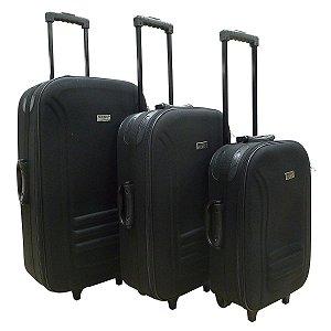 Conjunto 3 Peças P/M/G 2 Rodas Preta Travel Max (CJMB-LM600P)