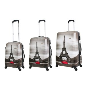Conjunto de Malas de Viagem Travel Max com Rodinhas Giro 360° 3 Peças Torre Eiffel Cinza