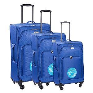 Conjunto de Malas de Viagem Travel Max com Rodinhas Giro 360° 3 Peças Cancún Light Azul