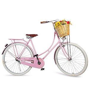 Bicicleta Vintage Retrô Vênus Rosa Quartzo Feminina