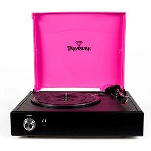 Vitrola Toca Discos Treasure Preto Com Rosa