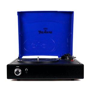 Vitrola Toca Discos Treasure Preto Com Azul