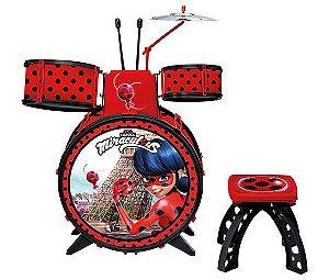 Bateria Infantil Miraculous Ladybug Com Banquinho 81078 Fun
