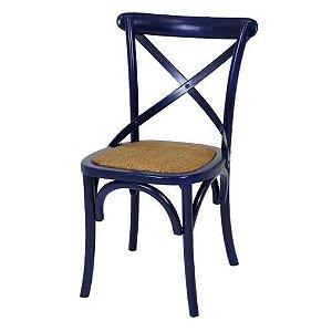 Cadeira Cross Azul Paris com Assento em Rattan