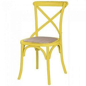 Cadeira Cross Amarela Paris com Assento em Rattan
