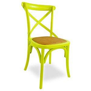 Cadeira Cross Verde Limão Paris com Assento em Rattan