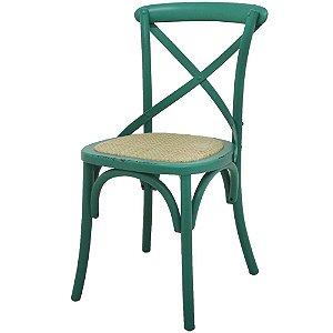 Cadeira Cross Verde Paris com Assento em Rattan