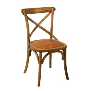 Cadeira Cross Mel Paris com Assento em Rattan