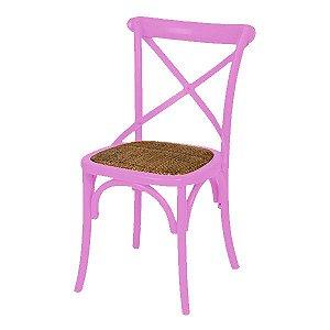 Cadeira Cross Rosa Paris com Assento em Rattan