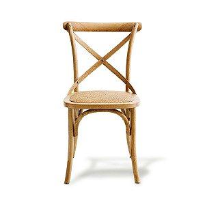 Cadeira X com Assento em Rattan Madeira Natural