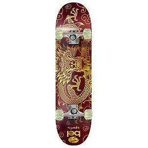 Skateboard Semi-Pro Rodas PU Dragão Amarelo e Vermelho