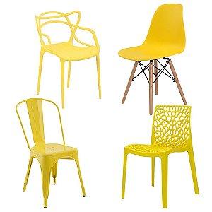 Kit cadeiras 14 Allegras 14 Eiffel 6 Gruvyer e 10 Iron Tolix Amarelas