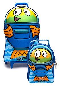 Mochila de Rodinhas Mochilete 3D Escolar + Lancheira Discovery Kids Peixonauta