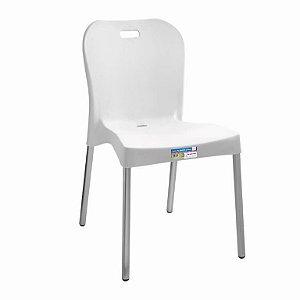 Cadeira Branca com Pé Aluminio Sem Braço ref 361 Paramount Plasticos