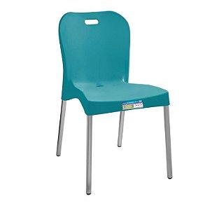 Cadeira Turquesa com Pé Aluminio Sem Braço ref 362 Paramount Plasticos