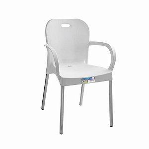 Cadeira Branca com Pé Aluminio com Braço ref 365 Paramount Plasticos