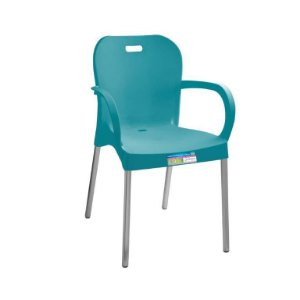 Cadeira Turquesa com Pé Aluminio com Braço ref 366 Paramount Plasticos