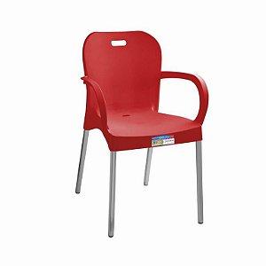 Cadeira Vermelha com Pé Aluminio Com Braço ref 367 Paramount Plasticos