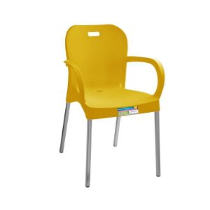 Cadeira Amarela com Pé Aluminio Com Braço ref 368 Paramount Plasticos