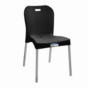 Cadeira Preta com Pé Aluminio Sem Braço ref 371 Paramount Plasticos