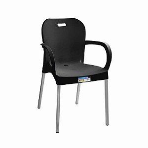 Cadeira Preta com Pé Aluminio Com Braço ref 372 Paramount Plasticos