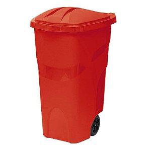 Lixeira com Rodas 120 Litros Vermelha ref 432 Paramount Plasticos