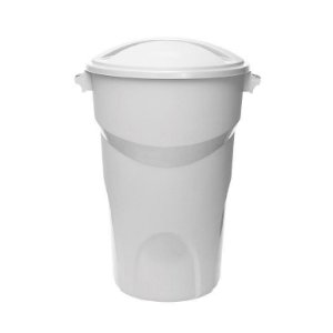 Lixeira Redonda com tampa 100 Litros Branca ref 446 Paramount Plasticos