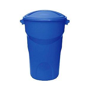 Lixeira Redonda com tampa 100 Litros Azul ref 448 Paramount Plasticos